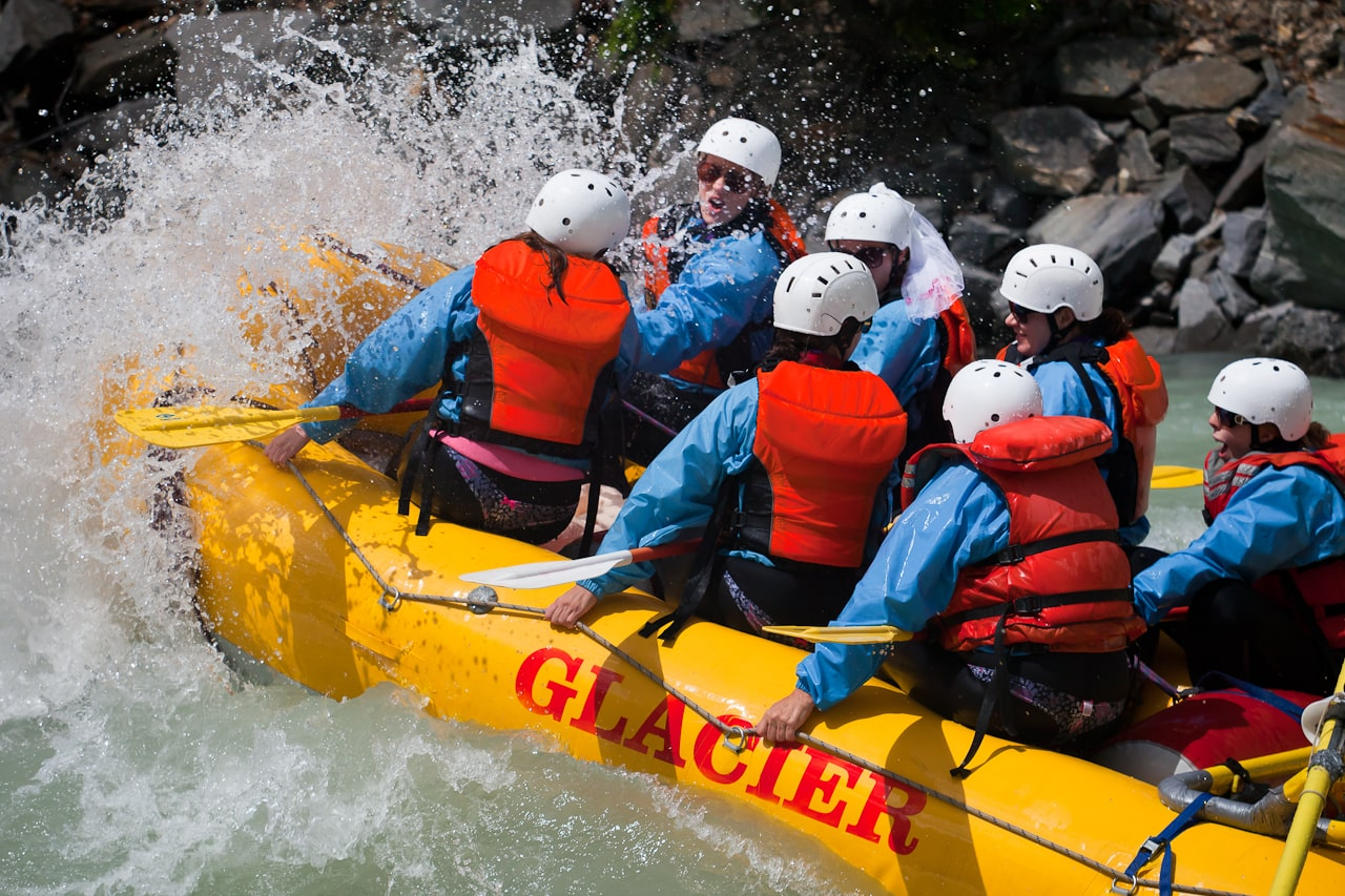 Stagette party whitewater rafting in Golden B.C.