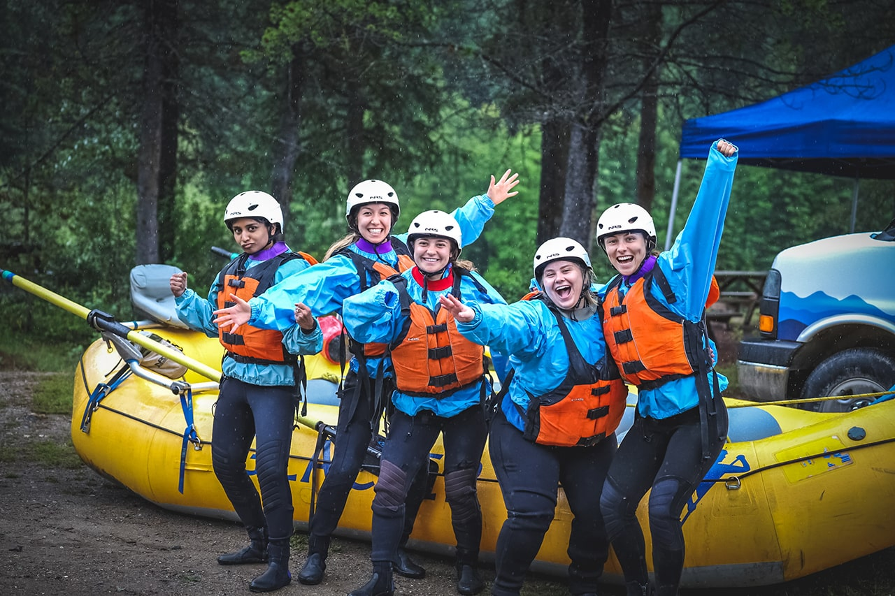 Stagette group white water rafting Golden B.C.