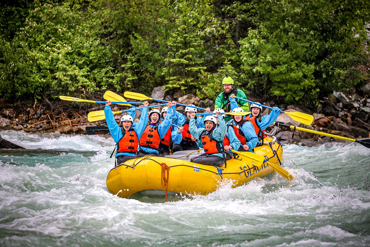 Stagette group rafting Kicking Horse River near to Calgary