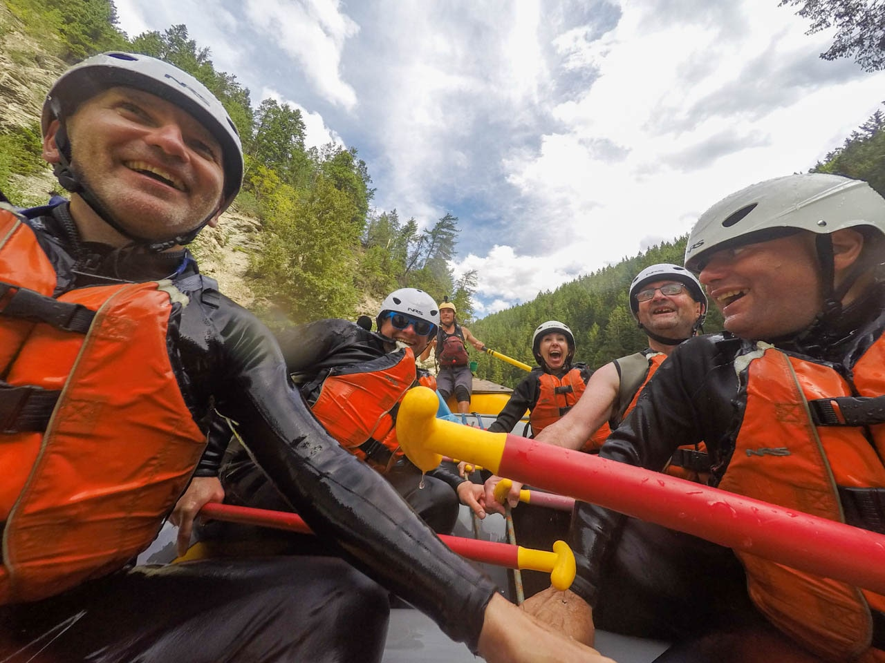 Glacier Raft Co guests heli rafting Kicking Horse River in Golden BC