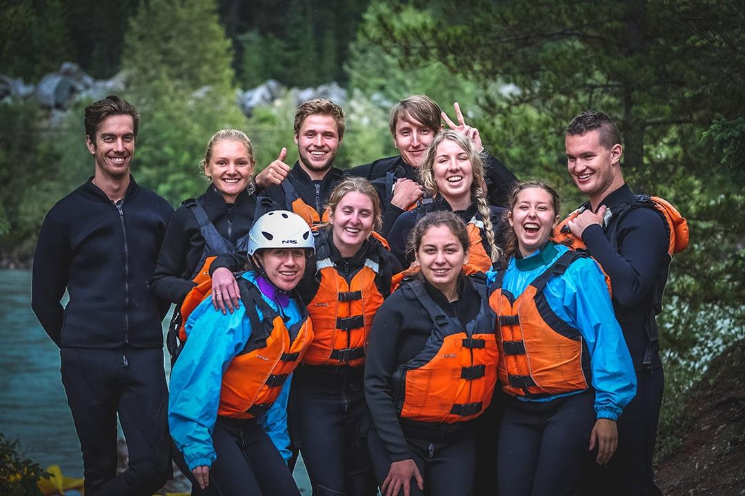People having fun rafting Kicking Horse River Golden BC