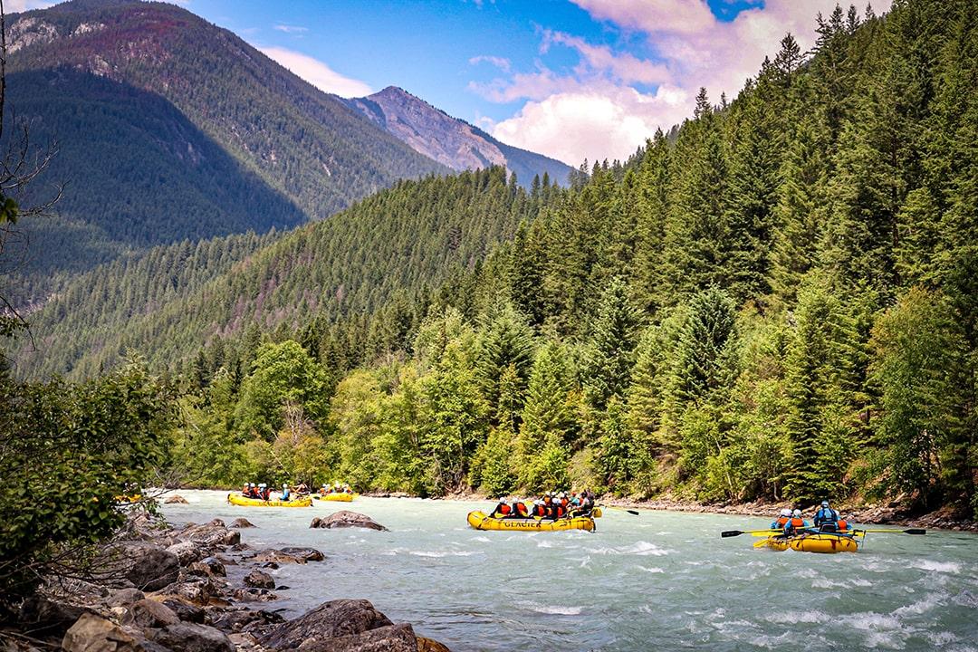 Beautiful scenery rafting Kicking Horse River Golden BC