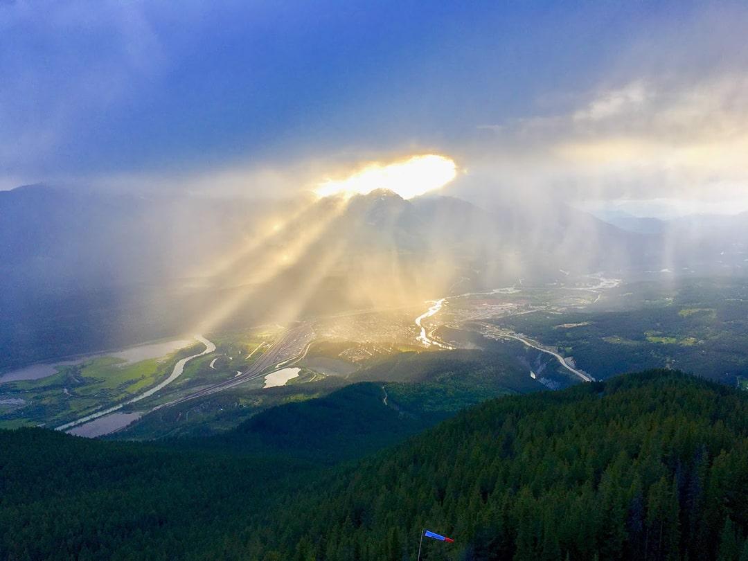 sunshine on Mount 7 in Golden, BC