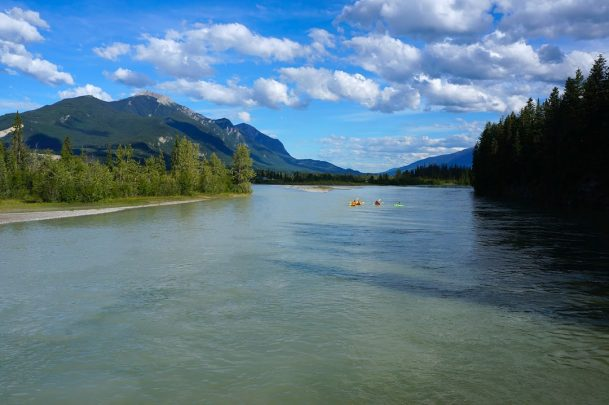 Paddlers on Columbia River Golden BC