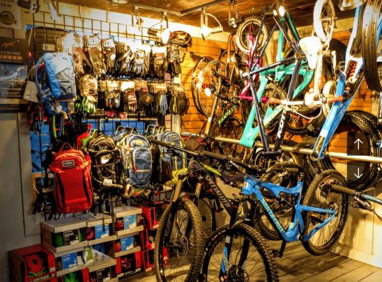 Biking gear at Derailed in Golden, BC