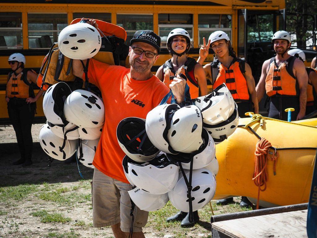 Glacier staff getting ready for rafting