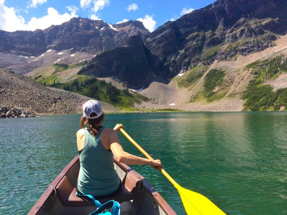 Paddling across Gorman Lake, Golden BC