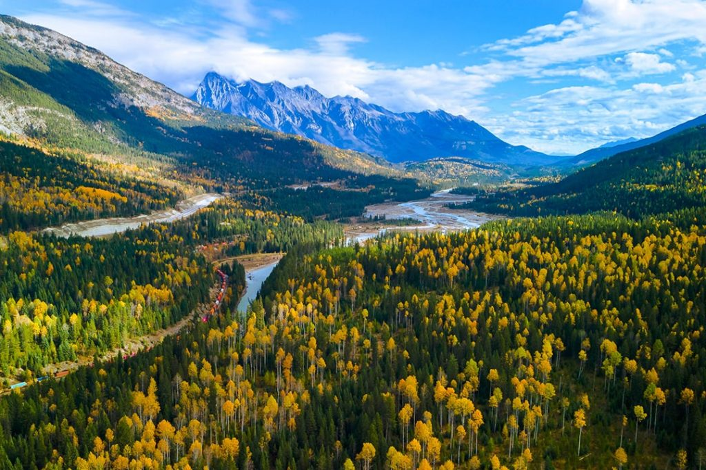 Kicking Horse River and Canadian Rocky Mountains