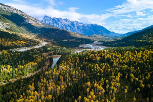 Aerial view Kicking Horse River, Golden BC