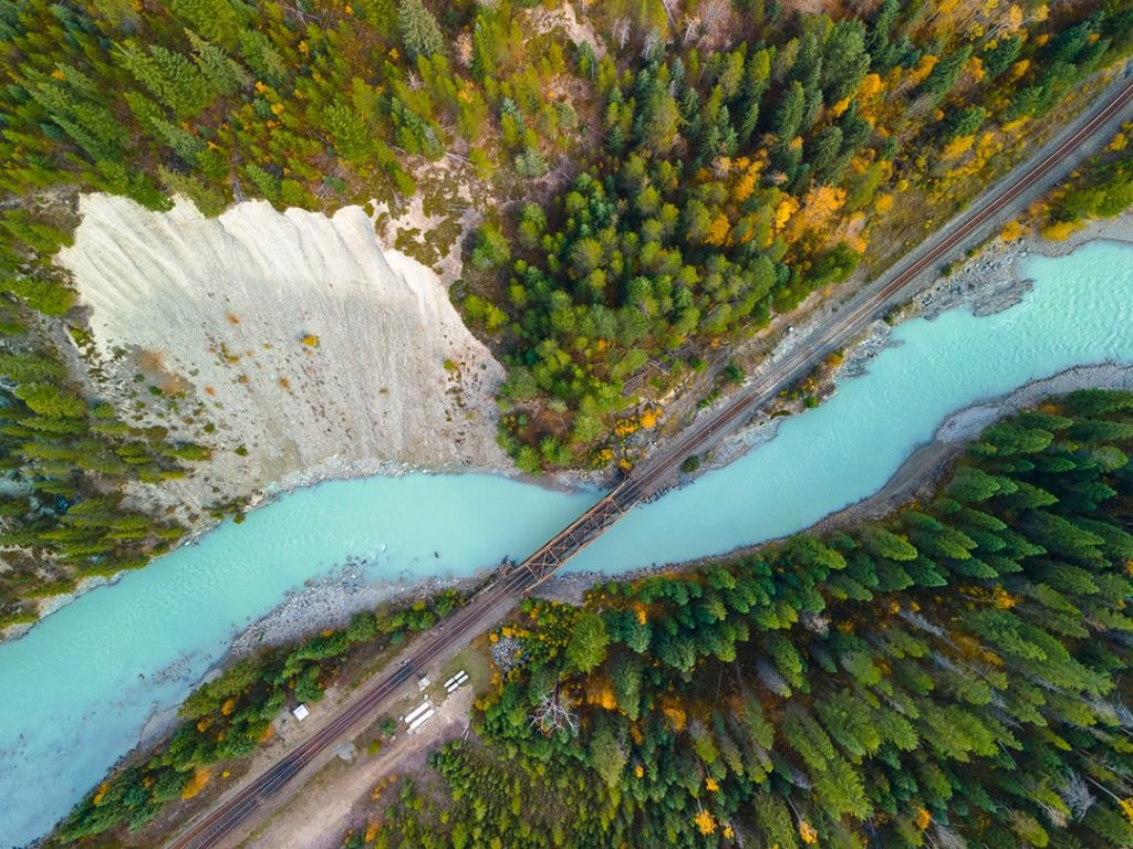 Looking down on the Kicking Horse River, Golden BC