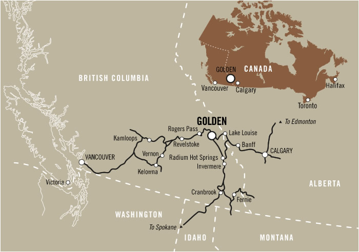 Map showing where Golden BC is in Canada