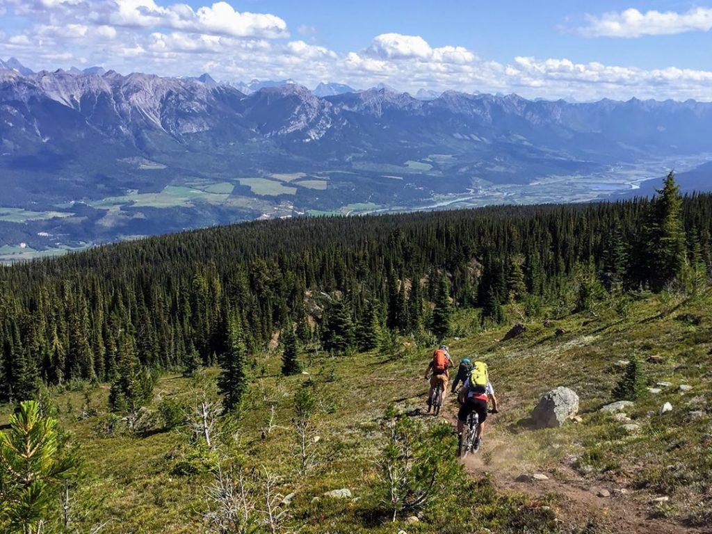 2 people mountain biking Canadian Rockies, Golden, BC